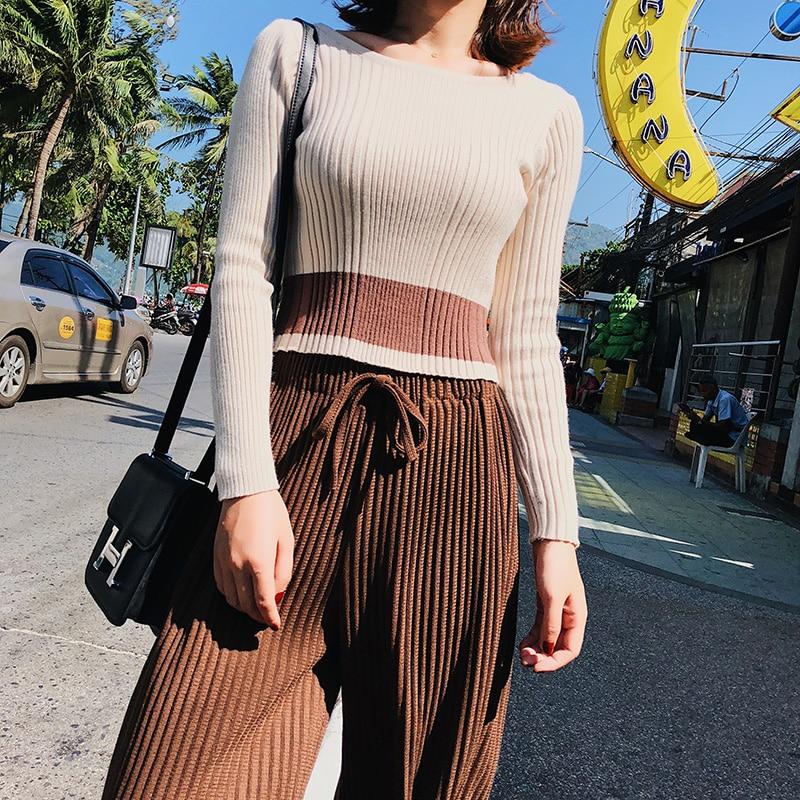 2018 Spring Women Pants New Korean Women's High-waist Pants Thread Wide Leg Pants Loose Thin Knit Women Trousers 4