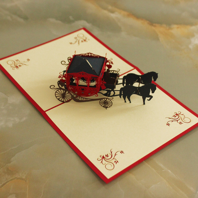 3D Pop Up Postcards Carriage Greeting Card Decoration Happy Anniversary  Birthday Valentine Wedding Invitation