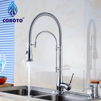 Free Shipping Pull Out Faucet Chrome Silver Swivel Kitchen Sink with LED shower head free