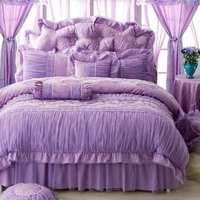 Romantic Purple Lace Princess Wedding Bedding Sets Bedspread 4pcs Jacquard Satin Ruffles Duvet Cover Bedclothes Bed Skirt Cotton