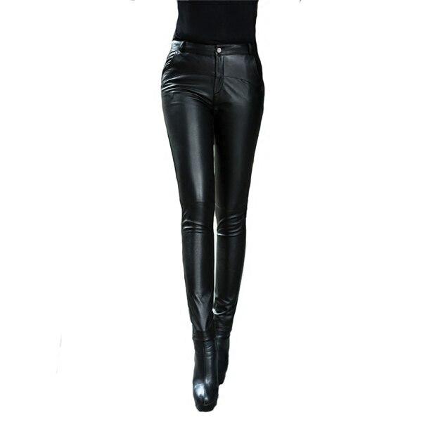 2019 корейские новые плотные зимние женские брюки из натуральной кожи, брюки карандаш из овчины, тонкие женские модные сексуальные обтягивающие брюки, M 4XL