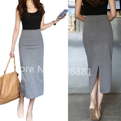 Long Grey Pencil Skirt