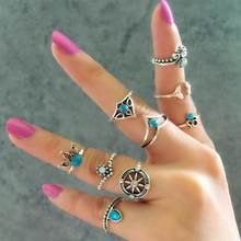 New Wedding Jewelry 1set=9pcs Vintage Gold Color Blue Crystal Ethnic Wind Mermaid Tail Compass Geometric Hollow Ring For Women(China)