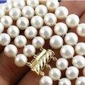 Envío libre 7-8mm 3 filas blanco perla cultivada de Akoya natural ronda collar de los granos para las mujeres nuevas joyería de 17-19 pulgadas BV220