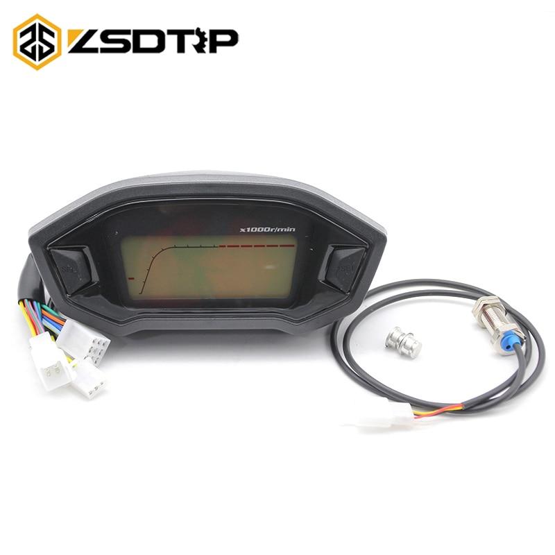 ZSDTRP universel ATV moto LCD compteur de vitesse numérique odomètre rétro-éclairage moto pour 2/4 cylindres odomètre 13000r/min