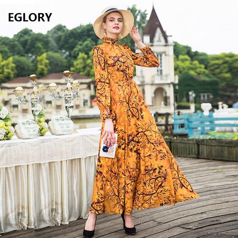 Lange Mouw Maxi Jurk 2018 Herfst Modieuze Vrouwen Ruches Kraag Elegante Bloemenprint Lange Jurk Geel Vestidos Plus Size