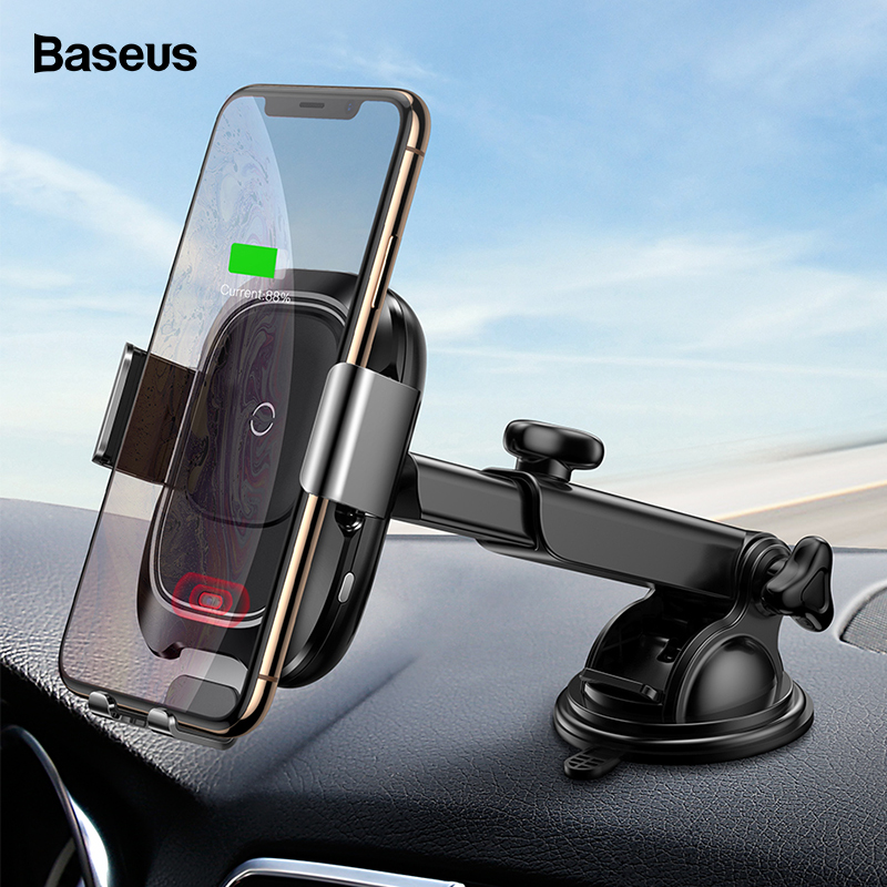 Baseus Infrared Induction Wireless Car Charger For iPhone Xs Max Xr X Samsung S9 Qi Fast Wirless Charging Car Phone Holder Stand chan de dien thoai xe hoi