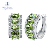 TBJ,Clasp earring with natural peridot earring 925 sterling silver fine jewelry elegant design for women best Valentine gift box cute 925 silver giraffe earring with gift box