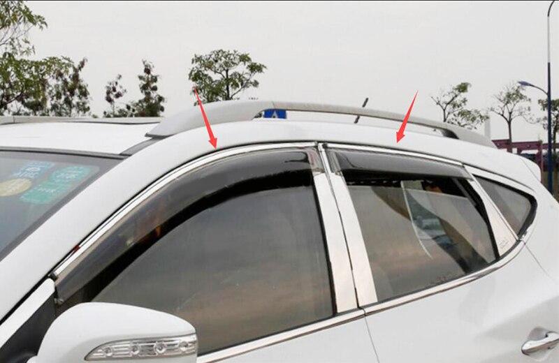 Acrylic Exterior Visor Vent Window Shades Sun Rain Guard Accessories Fit For Hyundai ix35/Tucson MK2 2010 2013 2014 2015 4Pcs