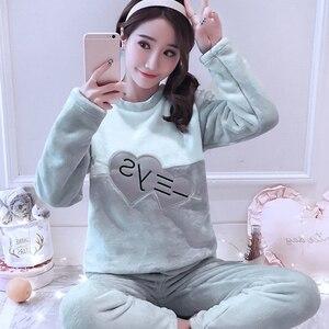 Image 3 - Womens Pajamas Autumn and Winter Pajamas set Women Long Sleeve Sleepwear Flannel Warm Lovely Top + Pants Pajamas Female Pyjama