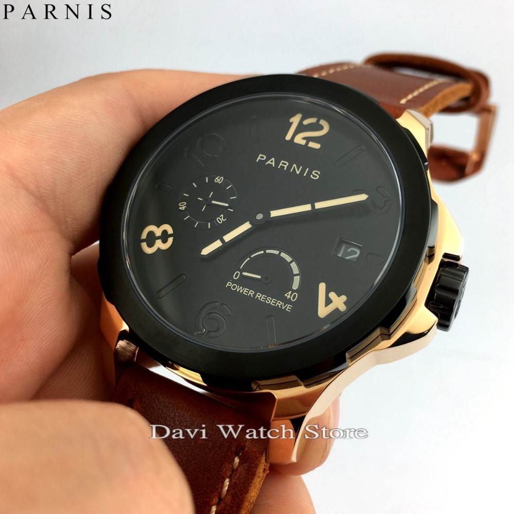 44mm Parnis Rose Gold Case Black Dial Leather Bands Seagull Automatic Movement  Mens Wristwatches