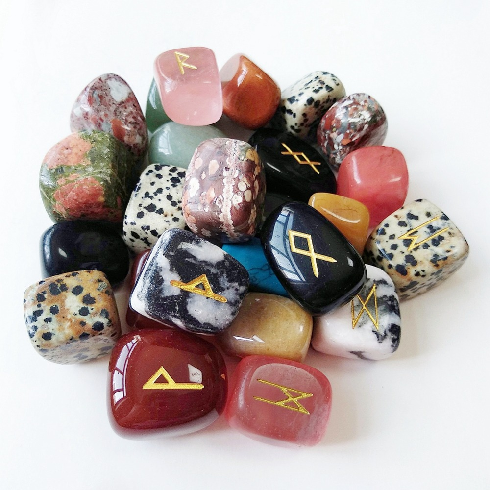 25pcs Mixed Crystals Quartz Tumbled Stones Viking Runes Set Nordic Amulet Reiki Healing Reiki Healing Stones Set Free Bag