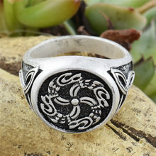 1 PC Viking Signet Rings Cincin Naga Mewah Dikepang Segitiga Simpul Anel Bague Perhiasan(China)