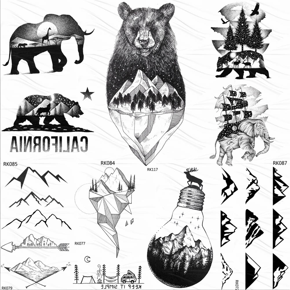 OMMGO Cute Black Mountain Bear Temporary Tattoos Sticker Forest Sailing Ship Custom Tatoo Body Art Arm Fake Tattoo Waterproof