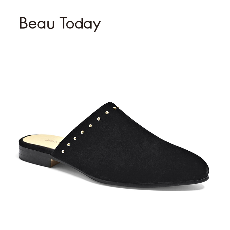 BeauToday Rivet Mules Women Shoes Good Quality Genuine   Leather   Kid   Suede   Female Shoe Brand Flats Handmade 36038