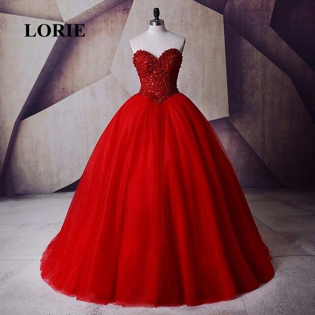 e07660cea LORIE gótico victoriano Masquerade quinceanera vestido de baile de graduación  vestido rojo con cuentas piedras cariño
