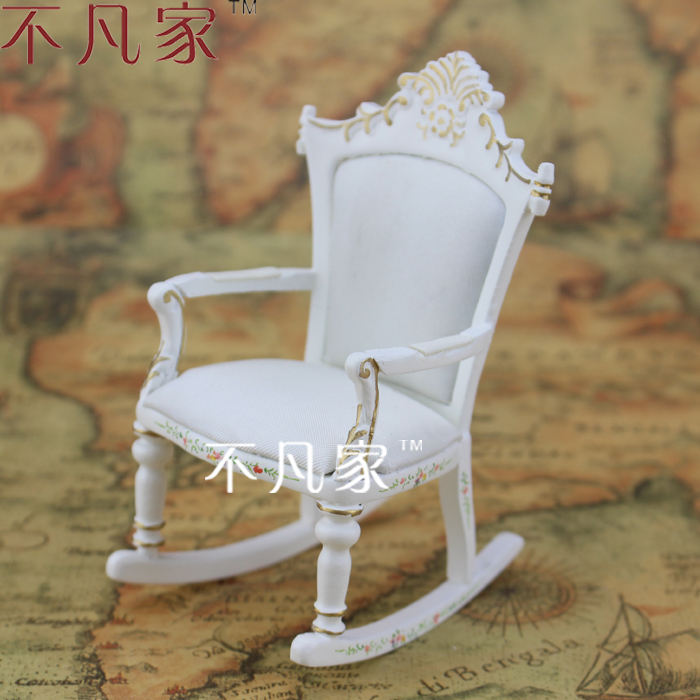 1/12 Doll house for micro mini ature mini white colored drawing real child rocking chair
