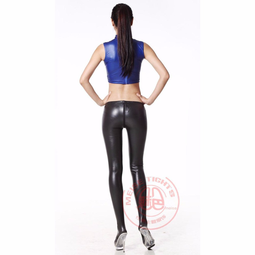 Zipper Open Crotch Latex Shiny Pantyhose Women Low Waist Sexy Leggings Ladies Bodycon Solid Capris Elastic Full Pencil Pant