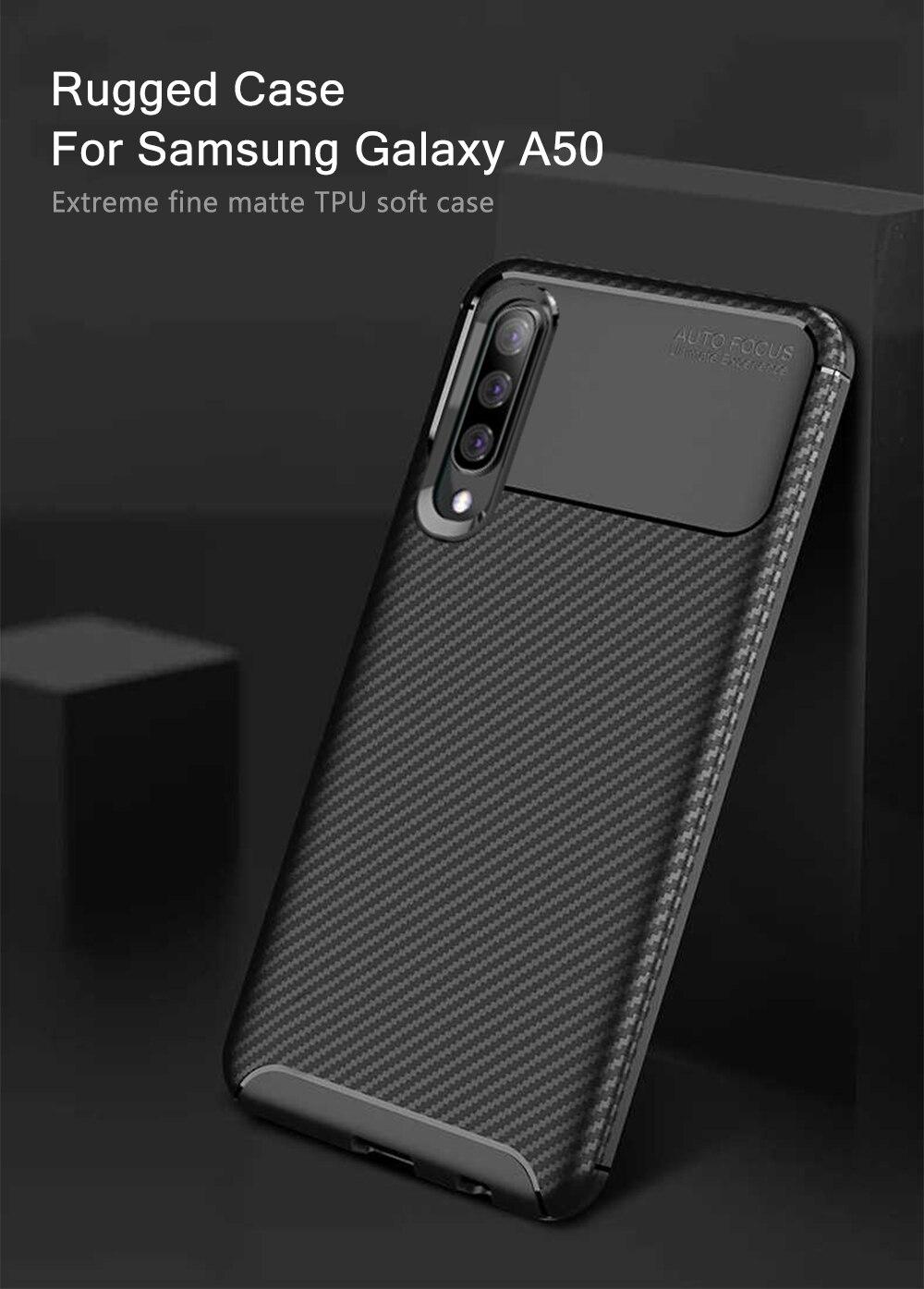 d02fa8a2ebb Para Samsung Galaxy A50 caso cubierta de fibra de carbono completa ...