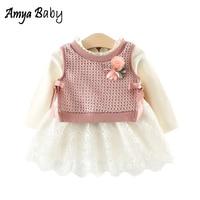 AmyaBaby 2017 New Autumn Baby Set Clothes Flower Vest Lace Dress 2 Pcs Baby Girl Set