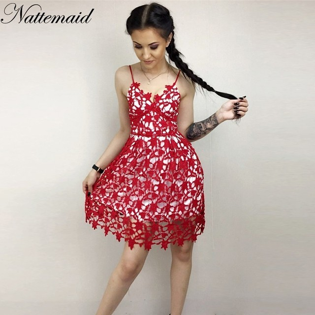 NATTEMAID Lace Dress Back Zipper Spaghetti Strap Dress Split Hem Sexy  Backless Floral Lace White Red