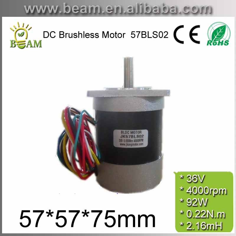 Square Head and Circle Fuselage 57mm 36V 92W 0.22 N.m BLDC Motor 4000rpm 3phase DC Brushless Motor Body length 75mm 57BLS02 free shipping square head and circle