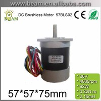 Square Head and Circle Fuselage 57mm 36V 92W 0.22 N.m BLDC Motor 4000rpm 3phase DC Brushless Motor Body length 75mm 57BLS02