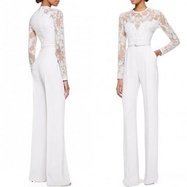 7c3385ce94df 2017 White Elie Saab Mother Of The Bride Pant Suits Jumpsuit With Long  Sleeves Lace Embellished Women Formal Evening Wear Custom