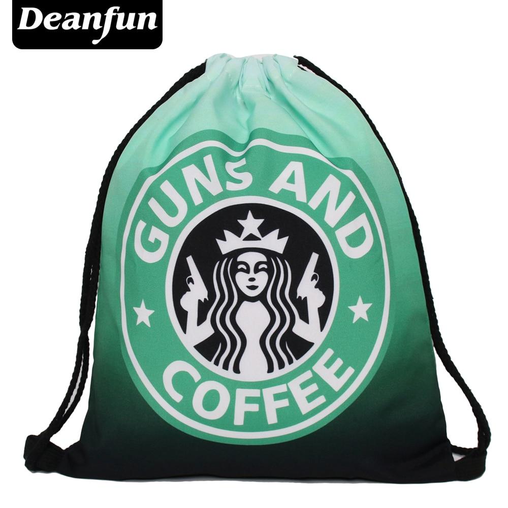 Deanfun Brand new 2016 escolar backpack 3Dprinting travel softback man women mochila feminina drawstring bag backpack coffee s73