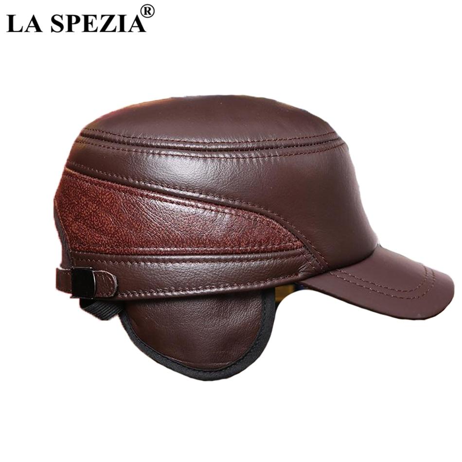 d3e4ddf4805 LA SPEZIA 2019 Fashion Military Cap Men Brown Sailor Hat Male Genuine  Sheepskin Leather Winter Fiddler Hat High-End Captain CapsUSD 35.24 piece