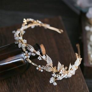 Image 3 - Jonnafe Delicate Gold Leaf Women Prom Headpiece Hairband Floral Bridal Tiara Hair Crown Handmade Wedding Headband Accessories