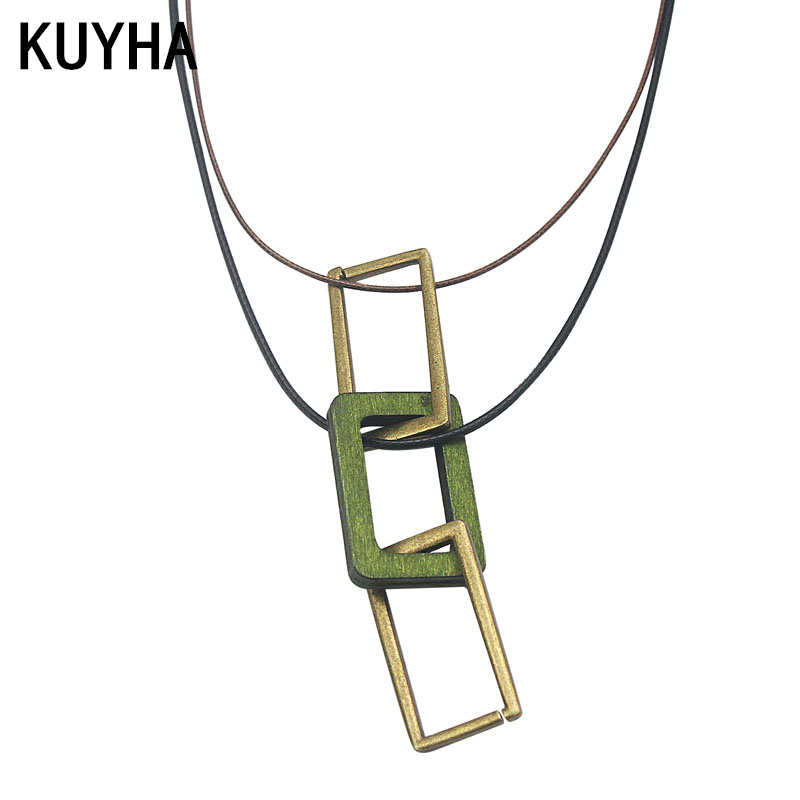 Fashion Women Long Chain Necklace Vintage 72cm Rope Leather Wood Pendant Necklace Jewelry Gift