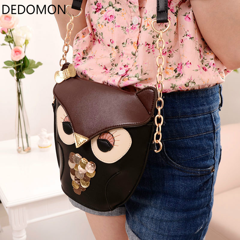 2018 New Fashion Sequins Chain Women Leather Handbags Cartoon Crossbody Bag Owl Fox Shoulder Bags Women Messenger Bags glitter sequins women pu chain handbags messenger crossbody bags party shoulder sling bags fashion girls shinning clutch bags