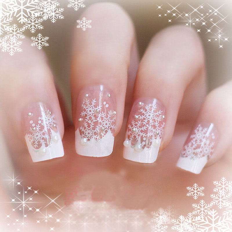 Christmas Snow Flake False Nails Art Decoration Daily Wear Las Ornament 33 19556 Free Shipping In From Beauty Health On