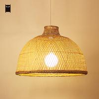 53cm Bamboo Wicker Rattan Balcony Light Pendant Hanging Lamps for Dining Room Rustic Vintage Asian Industrial Retro Lighting E27
