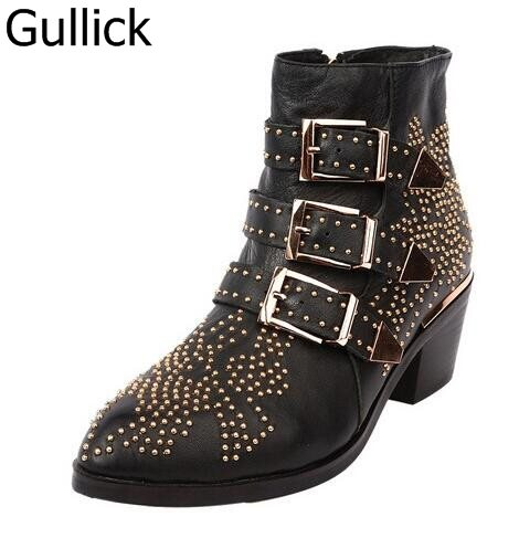 Spring Fashion Rivet Buckle Shoes Female Med Heel Solid Black Leather Ankle Boots Side Zipper Women's Motorcycle Booties women martin boots 2017 autumn winter punk style shoes female genuine leather rivet retro black buckle motorcycle ankle booties
