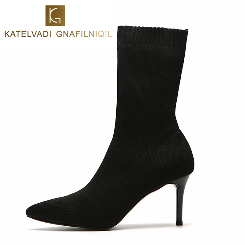 Black Sock Boots Women High Heels Pointed Toe Stretch Fabric Woman Boots Shoes Heel Ankle Boots For Women Sexy Sock Shoes K-190 цена 2017