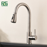 FLG Brushed Nickel Kitchen Faucets 304 Stainless Steel Single Handle Pull Out Kitchen Tap Swivel 360 Degree Mixer Tap AEG969 33N