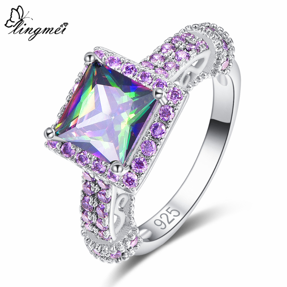 lingmei 2018 New Hot Sell Square Multicolor Purple & Blue White CZ Silver Color Ring Size 6 7 8 9 Fashion Beauty Women Jewelry