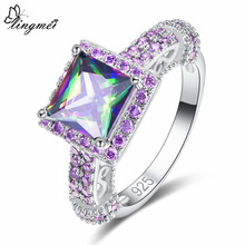 lingmei 2018 New Hot Sell Square Multicolor Purple & Blue White CZ Silver Color Ring Size 6 7 8 9 Fashion Beauty Women Jewelry