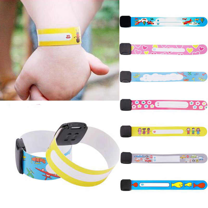 8Pcs/Set Children Travel Outdoor Safe Anti-lost Wristband Safety Recognition Bracelet For Kids Adjustable Waterproof Wrist Strap
