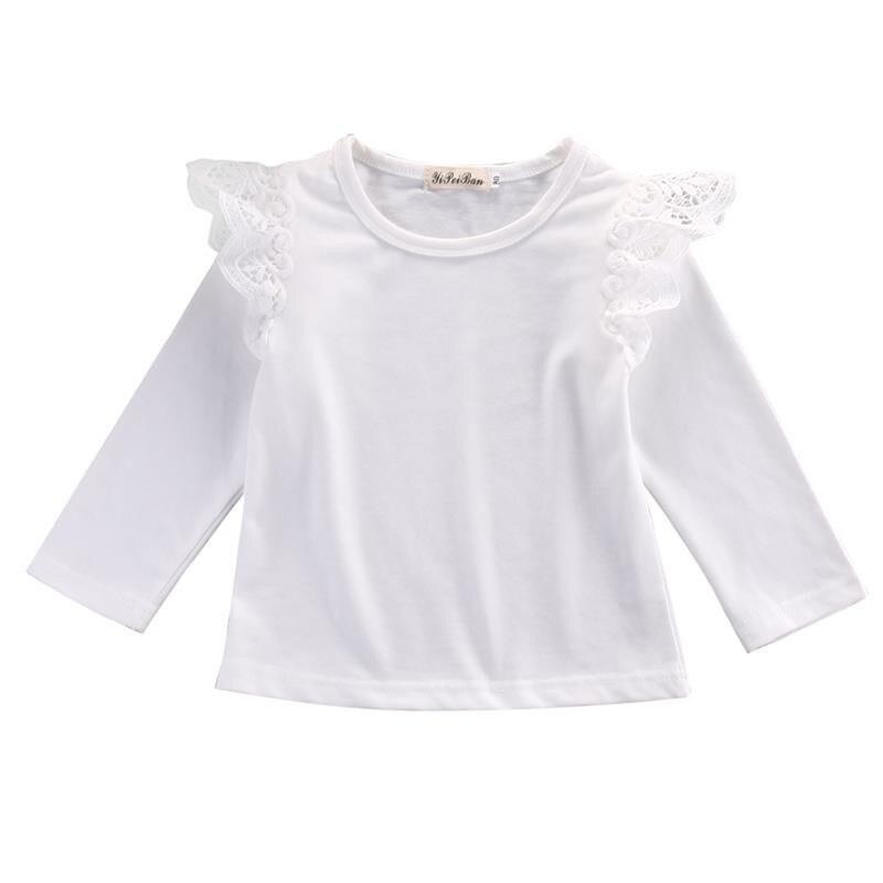 Для новорожденных, для маленьких девочек Одежда для младенцев с длинным рукавом, футболки с кружевом, модные осень-зима Повседневное футболки, комплекты одежды с повязкой