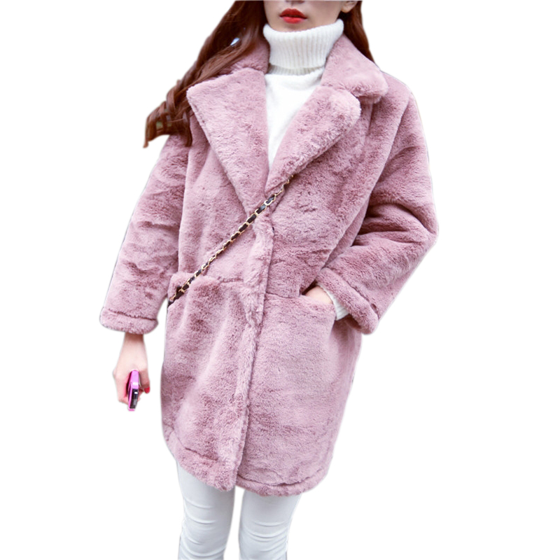 2017 cotton ladies winter new Korean loose lamb plush in the long section of thicker deerskin