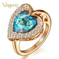 VOGEM Gold 585 Blue Stone Rings For Women Rose Gold Plated Blue Heart Engagement Wedding Promise Ring bijoux anillos mujer