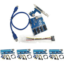 4 Set USB3.0 PCI-E Express 1x to 16x Extender Riser Card Adapter SATA 6Pin Power Cable with 1 Set PCIe 1 to 4 PCI Expres XXM8