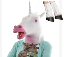 2016 Halloween Party Cosplay Adult Unicorn Head Mask with 1 Pair Unicorn Hooves Gloves White Horse Mask Horse Gloves in stock