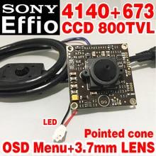 11.11 Big Sale 3.7mm pointed cone Analog hd Mini chip Monitor module 1/3Sony Sensor CCD Effio 4140+811 800tvl OSD meun WDR Wid