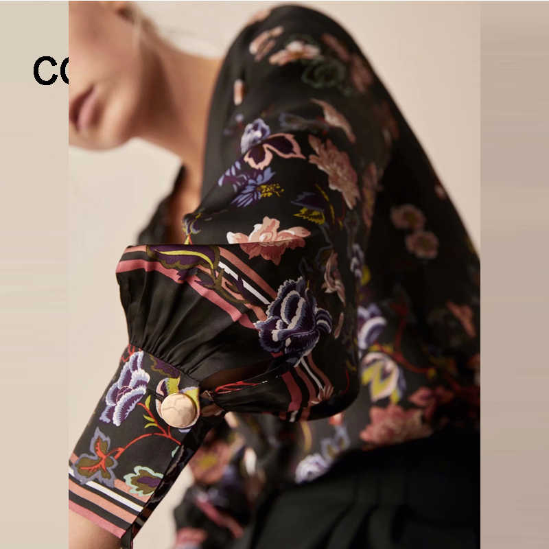 COZARII 2018 blusa feminina kimono blouse blusas mujer de mod print puff sleeve shirt womens tops and blouses plus size