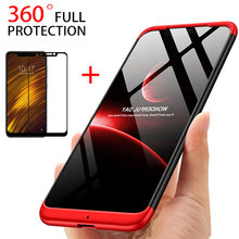 3-in-1 360 Tempered Glass + Case Pocophone F1 Case for Xiaomi Mi Max 2 Max 3 Cover for Xiaomi Mi Mix 2 2S Mi A1 A2 Case Glass(China)
