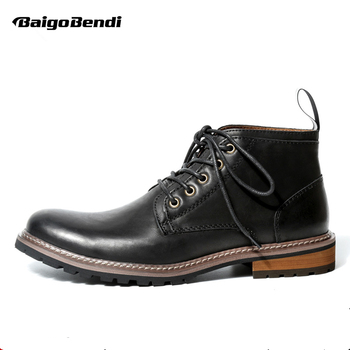 Clearance Sale Genuine Leather Men Boots Lace Up Soliders Ridding Boots Business Man Black Ankle Boots Autumn Winter shoes